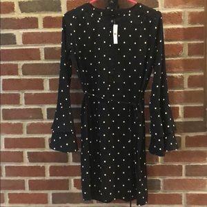 Loft Polka Dot Bell Long Sleeve Dress